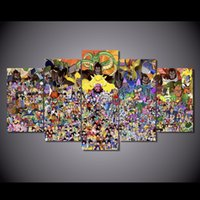Wholesale mirrored panels for wall - 5Pcs Set HD Printed Cartoon Dragon Ball Painting Canvas Print room decor print poster picture canvas wall pictures for living rooms