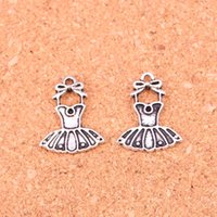 Wholesale ballerina jewelry silver - Wholesale 110pcs Fashion Antique silver ballet tutu dress ballerina skirt charms metal pendants for diy jewelry findings 20*16mm