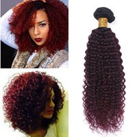 Ombre Color Low Price 99J Malaio Cabelo Curly 3 Bundles Curly Weave Extensões de cabelo humano Malaio Kinky Curly Burgundy Red Weave