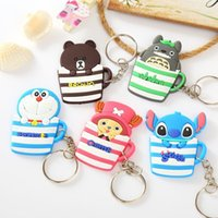 Wholesale Minions Dhl - DHL Free Cartoon Keychain With Bells Action Figures in Cup Key Ring Minions Mickey Hello Kitty Holder Key Chains Finder Gifts Item