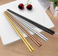 palillos de acero inoxidable de grado al por mayor-Palillos de acero inoxidable 304 de alto grado palillos huecos cuadrados de China Cuatro colores eligen un regalo de estilo simple