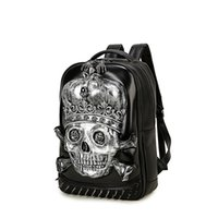 Wholesale Skull Computer Bag - 3D Skull Pu Leather Backpacks for Men Teenagers 2017 New Fashion Hip Hop Man Backpack with Rivets Black Gold Silver BP-22