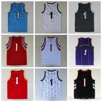 Wholesale Shirt Basket - Fashion Basketball Sport Jerseys 2016 Men #1 Throwback Shirt Basket ball Classical Purple Red White Blue Black With Player Name Team Logo