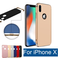 Wholesale Gold Cover For Galaxy - Ultra thin protector PC + Electroplating 3 in 1 case shockproof cell phone cover for iPhone X 6 6s 7 8 Plus Samsung Galaxy S7 S8 edge Note 8