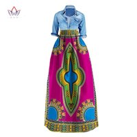 Wholesale Traditional Ball Gowns - BRW 2017 New African Print Summer Skirt for women Plus Size Dashiki African Traditional Clothing Ball Gown Casual Skirts WY106