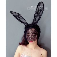 Wholesale Eyelash Wigs - Woman headdress hair A sexy nightclub fun accessories dream adjustable eyelash lace long rabbit ears Headband Headdress hairpin