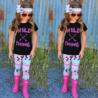Wholesale Chinese Arrows - Baby Girls Clothes Summer Letters Arrow Suit Clothing Sleeveless T-shirt+Pants+Headband 3 PCS Summer Kids Girl Clothes Outfits For 1~5 Y