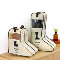 Wholesale Window Wall Cover - Boots Portable Travel Storage Bags Boots Dust-proof Tote Zipper Dust Bag shoes dust cover with window Storage bags non-woven fabrics