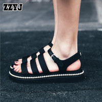 Wholesale Retro Gladiator Sandals - ZZYJ recently designed women's casual flat sandals retro special canvas sandals ladies beaded soles open toe summer sandals shoes C8349