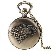 saat izleri toptan satış-Antik Bronz Oyun thrones Stark Kurt Burcu Cebi Kolye Moda Takı Hediye Damla Nakliye