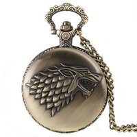 Wholesale Pocket Watch Games - Antique Bronze Game of thrones Stark Wolf Sign Pocket Watch Necklace Fashion Jewelry Gift Drop Shipping