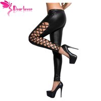 Sexy clubwear hose Stylish Leder Leggings Schnürsenkel Red Wet Look Fitness Jegging Legging Hosen Frauen LC79879 17410
