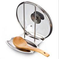 ingrosso accessori da cucina in rack in acciaio inox-Pranzo Accessori da cucina in acciaio inox coperchio del vaso mensola cucina organizer pan coperchio coperchio cremagliera stand spugna cucchiaio portapiatti