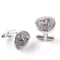 Wholesale Purple Cufflinks Crystal - 1 Pair High grade Silver Plated Purple Crystal Rhinestone Cufflinks Wedding shirt Cuff Links Classic Luxury Jewelry 3 Color