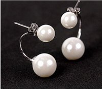 Wholesale Pearl Earrings Sterling Silver Real - Earring Fashion jewellery Real 925 Sterling Silver Double wear Pearls Cute Stud for girls' wholesale price free shipping
