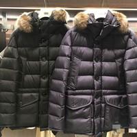 ingrosso cappotto di cappotto di pelliccia del parka-Plus Size Giacche invernali da uomo Marca francese Piumino bianco Piumini Cappotti Colletto di pelliccia Parka da uomo Mans Parkas MM09