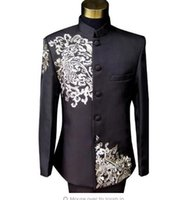 Wholesale collar designs for wedding dresses online - Black formal dress latest coat pant designs suit men costume homme terno embroidered clouds marriage wedding suits for men s