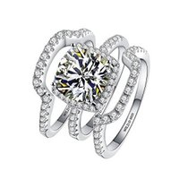 SONA Diamant-verlobungsring Hochzeit Silber Ring Sets 3ct D E farbe Prinzessin Cut Synthetische Diamant Silber Ring