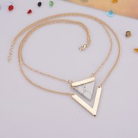 Wholesale V Shape Gold Necklace - Triangle Hoard of Pendant Necklace Hot Style V-shaped Double Layers of Clavicle Chain Fashion Women Pendant Necklaces Jewelry