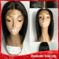 Wholesale Bob Strap - Cheap Full lace Straight Black Bob Wigs for Black Women Heat Resistant Glueless Synthetuc Lace Front Wigs with baby hair combs & straps