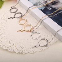 Wholesale Harry Necklace - film jewelry black Gold Silver Plated Harry glasses Necklaces Magic Glasses For Potter Fans Boy Girl Fashion Punk Jewelry BY DHL 160409
