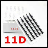 Wholesale Diamond Tip Tattoo Needles - Wholesale- 50pcs Plastic Disposable Tattoo Tips Long Black Nozzles 11DT Diamond-shaped mouth For Round Shader 11RS Needles Free Shipping
