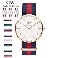 Wholesale Thin Red Dress - 40 mm Dial High Quality Nylon Daniel Fashion Brand DW Watch For Man Dress Watches Casual Thin Quartz Watch Luxury Wellington Wrist Watch