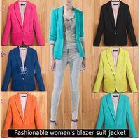 Wholesale Blazer Women Fashion Pink - Fashion Women Suit Blazer Candy Color Blazers Jacket coats Cotton & Spandex OL Jacket Outwear 7 Color 6 Sizes Feminino Coat Suits D292 10
