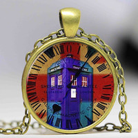 Wholesale Dr Charms - Free shipping Dr. Who Glass cabochon Necklace, The Tardis, Dr Who Art Charm Necklace, Photo Pendant