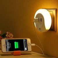 Wholesale Regulation Light - Wholesale- Brand New Good Quality LED Night Light with Light Sensor & Dual USB Charge Port Wall Charger Wall Plate U.S. regulation