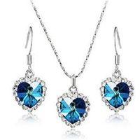 Wholesale Titanic Necklace Wedding - Titanic Women Austria Crystal Heart pendant Necklace Drop Earrings Jewelry Ocean Set for Girls Xmas Gift