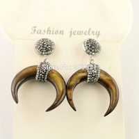 Wholesale Brown Crystal Earrings - New 3Pairs Brown Shell Crescent Moon Earrings with Crystal Rhinestone Paved Fashion Druzy Earring Charm Jewelry