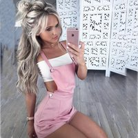 Wholesale Ladies Candy Color Pants - Leisure Goods Casual Strap Shorts Ladies Shoulder Straps Candy Color Pants Spring suspender trousers Short Jumpsuit Sexy Overall
