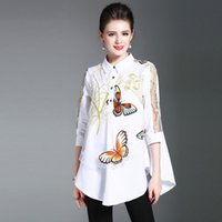 Wholesale Long Sleeve Casual Blouse Patterns - Loose Casual Shirt Tree Branches Butterfly Pattern Printing Women Shirts Net Yarn Patchwork Long Sleeve Vintage Elegant Blouse