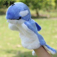 Wholesale Plush Toys Dolphin - Wholesale- Candice guo! Newest arrival super cute blue dolphin plush toy hand puppet baby toy tell story birthday gift 1pc