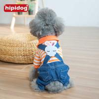Wholesale Pet Stripe Pants - Hipidog 2017 Spring Autumn Stripe Four Foot Dog Rompers Clothes Cute Rabbit Strap Denim Pants Jumpsuit Pet Dog Puppy Clothing