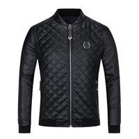 Wholesale Genuine Leather Jackets For Mens - Original German Brand PP jacket for men Fashion Long Sleeve 100% leather jackets men Skull hip pop Designer mens coat
