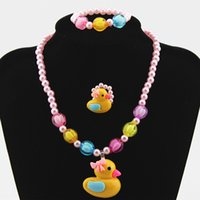 Wholesale Kids Plastic Princess Rings - Candy Colour Beads Girl Kids Duck Party Princess Jewelry Necklace Ring Children Holiday Gift Round beads Necklace bracelet Set C098