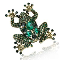 Wholesale Gold Frog - Wholesale- 2016 new design fashion european style gold plated frog brooch elegant crystal full rhinestone animal brooches for women
