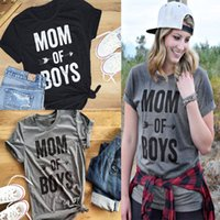 "Wholesale Boy S Cap - Short Sleeve Women Tops ""mom of boys"" Letter Print Tee Female Casual tshirt O-neck cloth S-3XL"
