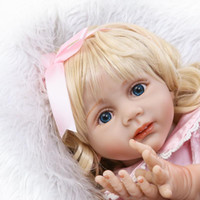 Poupées Réalistes Pour Tout-petits Pas Cher-24inch Lifelike Reborn Baby Realistic Soft Silicone Vinyl Toddler Girl Dolls Long Hair for Women Girls Gift