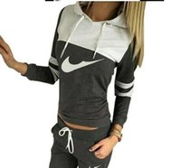 Wholesale Volleyball Hoodies - hot 2017 New Spring Autumn Sport Suits Women Hoodies Sweatshirt+Pants Tracksuits Pullovers 2Pcs Lot Active Costumes Women Joggings
