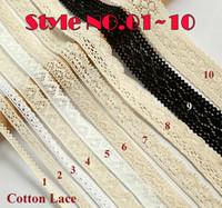 Wholesale Fabric Embellishments Lace - 300y lot High Quality Cotton Lace Trim Garment Lace Trims Sewing Accessories Scrapbooking Lace Embellishment DIY Patchwork Crafts Lacework