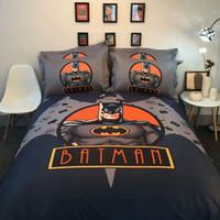 Wholesale Batman Twin Bedding - 100% Cotton Boys Marvel Batman Iron Man Super Man Bedding Set Twin Queen California King Quilt Cover Flat Sheet Bedding Sets 3 or 4pcs
