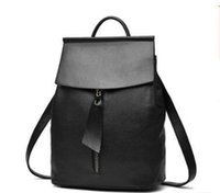 Wholesale Backpacks For Teens - Women's Leather Backpack Simple Solid Black Leather Bag for teen girl style backpack