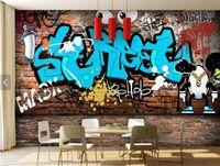 Wholesale Kids Brick Wallpaper - Restaurant Wallpaper Graffiti Photo Wall Mural 3D Brick Backsplash HD Wall Paper papel decorativo de pared 3d Mural Wallpaper