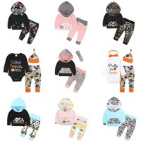Wholesale Cute 24 Month Boys Clothes - Baby Girls Boys Clothing Sets Infant Newborn 3PCS Suit Tops Pants Hat Boys Girls Leggings Tights Sweatshirt Pants Kids Clothes Wholesale 261