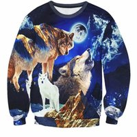 Wholesale Wolf Print Hoodies - Wholesale- Sweatshirt Men Women Hip Hop 3D Hoodie Print Animal Wolf Tracksuit Harajuku Crewneck Long Sleeve Sweat Shirt Homme Tops