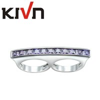 Wholesale Double Ring Mix - KIVN Fashion Jewelry Luxury CZ Cubic Zirconia Two Double Finger Rings for Women Promotion Mothers Day Birthday Christmas Gifts