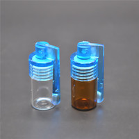 Wholesale Wholesale Small Acrylic Boxes - Small Size Acrylic Glass Snuff Bullet Rocket Snorter Glass Vial w  Spoon Flip Pill Box easy to carry